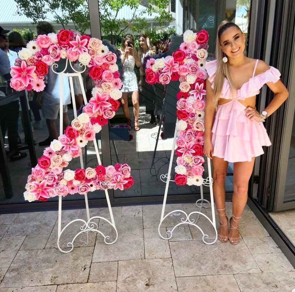 Pretty in Pink Floral 21 - Flower Wall Numbers for Hire in Perth